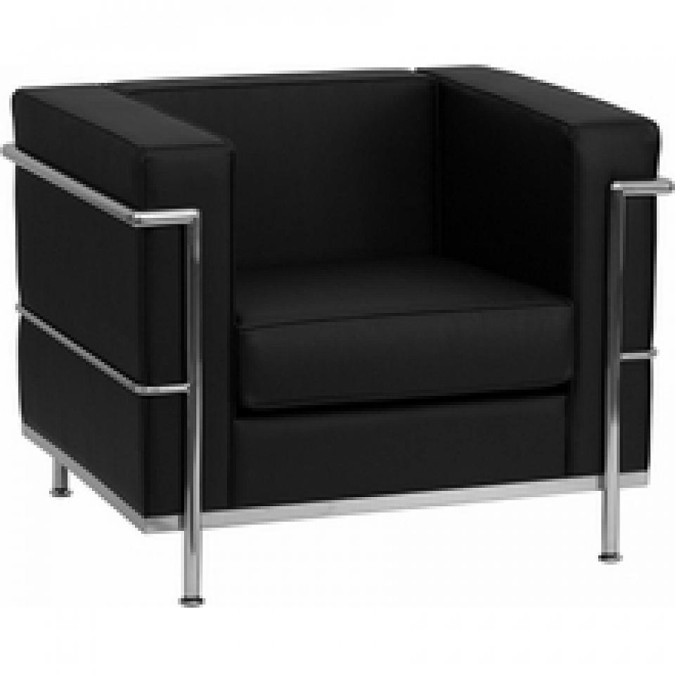Modern Lounge Chair: Black Leather