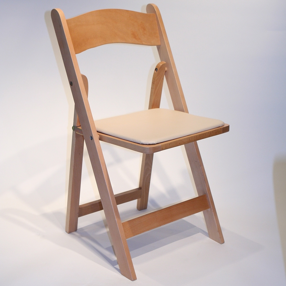 natural wood folding chair w tan padded seat grand event rentals
