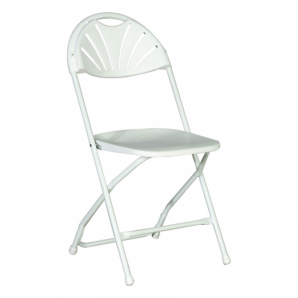 White Folding Samsonite Chair Rounded Back