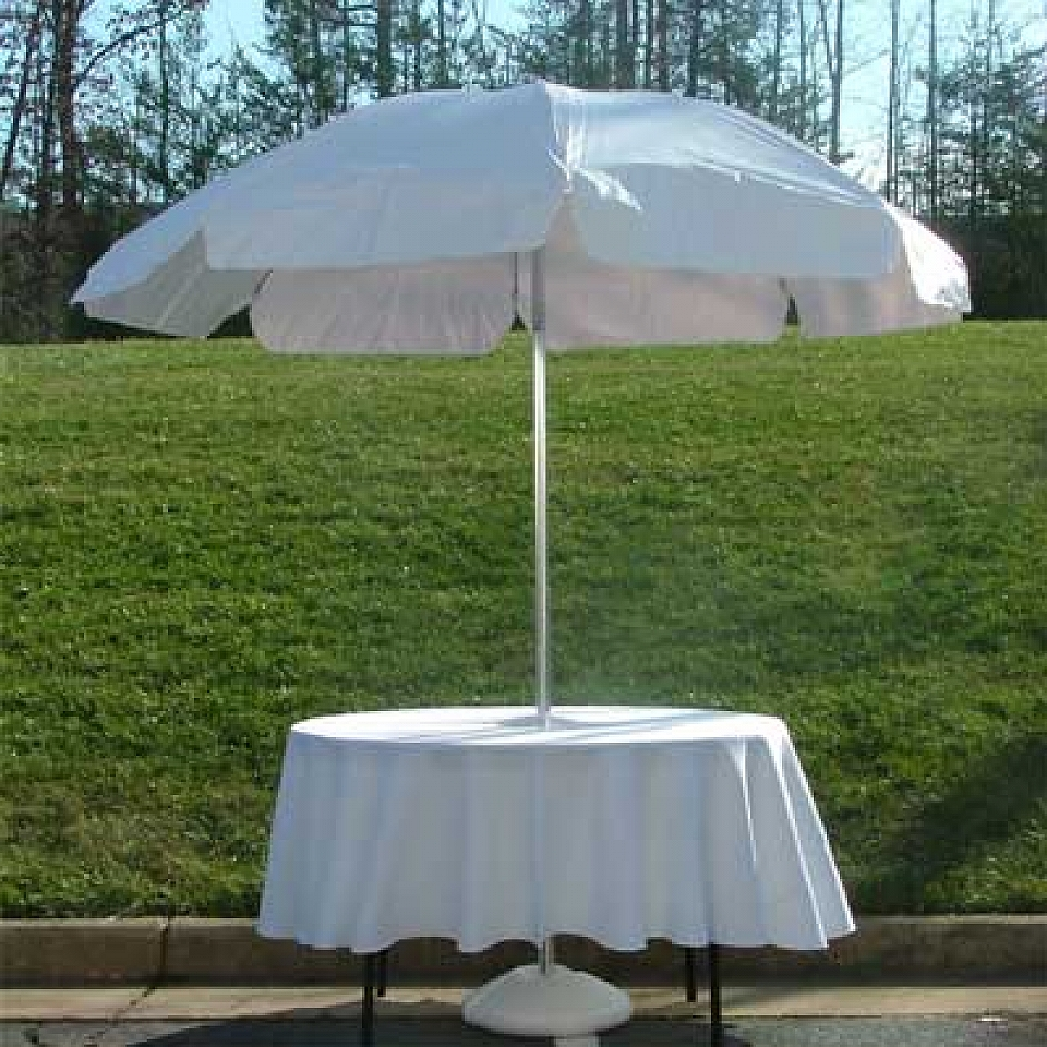 White Vinyl Umbrella With Base (Must Be Used With A Table!)