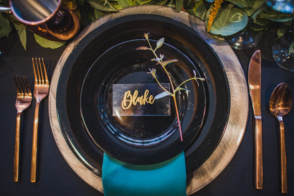 Black and Teal Table Decor