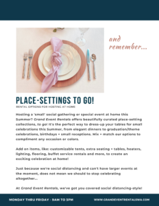 Place-settings to go offered by Grand Event Rentals