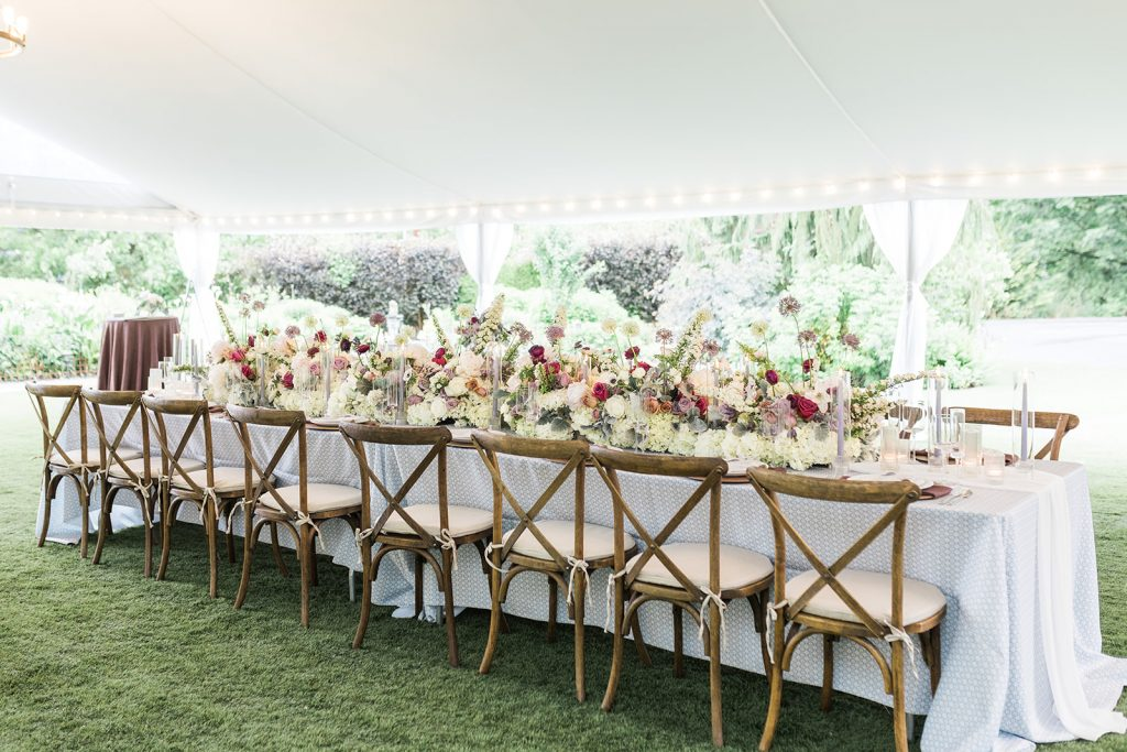 side view of the head table at wedding